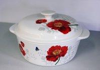 Szklany garnek z ceramiczną pokrywką